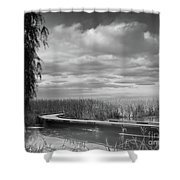 The Marsh-in Black And White Shower Curtain