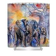 The Masai Mara Elephants Shower Curtain