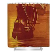 The Mayflower And The Speedwell Leave England In 1620 Shower Curtain