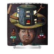The Mechanic Part Of The Thinking Cap Series Shower Curtain by Leah Saulnier The Painting Maniac