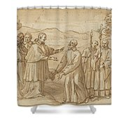 The Meeting Of San Carlo Borromeo And San Filippo Neri Shower Curtain