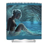 The Mermaid Of The Blue Cave Shower Curtain