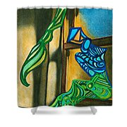 The Mermaid On The Window Sill Shower Curtain