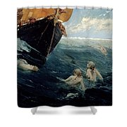The Mermaid's Rock Shower Curtain by Edward Matthew Hale