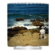 The Mighty Pacific Grab A Chair And Watch The Show Three Shower Curtain