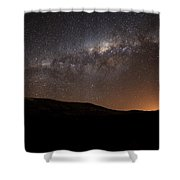 The Milky Way Setting Behind The Hills Shower Curtain