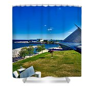 The Milwaukee Art Museum On Lake Michigan Shower Curtain