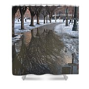 The Mirrored Streets Of Philadelphia In Winter Shower Curtain