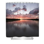 The Missouri River At Sunset Reflects Shower Curtain