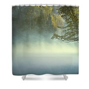 The Mists Of Hunt Lake Shower Curtain by Stuart Deacon