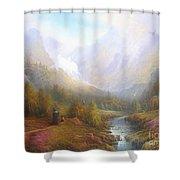 The Misty Mountains Shower Curtain by Joe  Gilronan