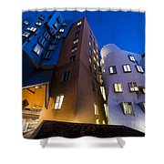 The Mit Stata Center At Night Kendall Square Cambirdge Ma Moon Front Shower Curtain