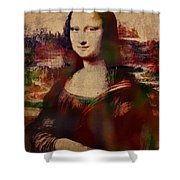 The Mona Lisa Colorful Watercolor Portrait On Worn Canvas Shower Curtain
