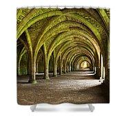The Monks Cellarium, Fountains Abbey.  Shower Curtain
