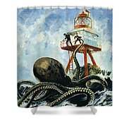 The Monster Of Serrana Cay Shower Curtain by Graham Coton