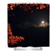 The Moon And Red Shower Curtain