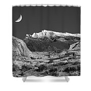 The Moon And The Mountain Range Shower Curtain