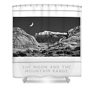 The Moon And The Mountain Range Poster Shower Curtain