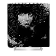 The Moon And The Stars Are In Her Sights. Shower Curtain