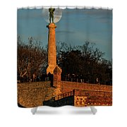 The Moon Rising Behind The Victor Statue In Belgrade In The Golden Hour Shower Curtain