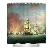 The Moonlight Battle Shower Curtain by Richard Paton
