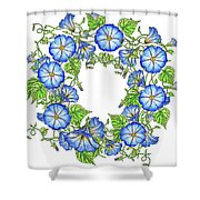The Morning Glory Circle Watercolor Shower Curtain