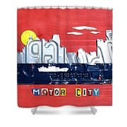 The Motor City - Detroit Michigan Skyline License Plate Art By Design Turnpike Shower Curtain