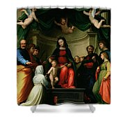 The Mystic Marriage Of St Catherine Of Siena With Saints Shower Curtain