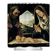 The Nativity Shower Curtain by Lorenzo Costa