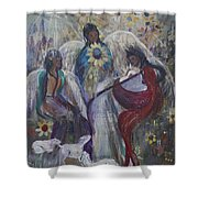 The Nativity Of The Angels Shower Curtain