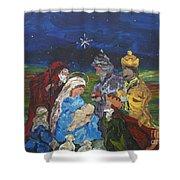 The Nativity Shower Curtain by Reina Resto