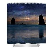 The Needles Rocks Under Starry Night Sky Shower Curtain
