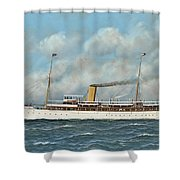 The New York Yacht Club Steam Yacht Vanadis At Sea Shower Curtain
