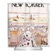The New Yorker - Magazine Cover - Vintage Art Nouveau Poster Shower Curtain