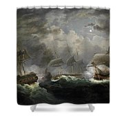 The Night Action Shower Curtain