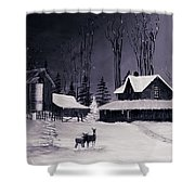 The Night Before Christmas Silvertoned Shower Curtain