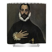 The Nobleman With His Hand On His Chest Shower Curtain