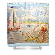 The None Such Sailboat Shower Curtain