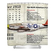 The North American P-51 Mustang V1 Shower Curtain