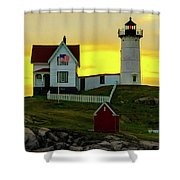 The Nubble Cape Neddick Lighthouse In Maine At Dawn Shower Curtain