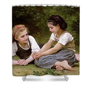 The Nut Gatherers Shower Curtain by William-Adolphe Bouguereau