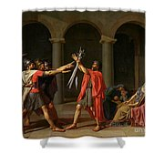 The Oath Of Horatii Shower Curtain by Jacques Louis David