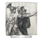 The Oath Of The Horatii, Detail Of The Horatii  Shower Curtain