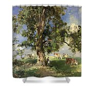 The Old Ash Tree Shower Curtain by Edward Arthur Walton
