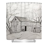 The Old Barn Inwinter Shower Curtain