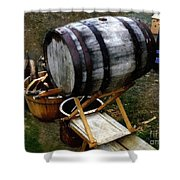 The Old Beer Barrel Shower Curtain