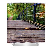 the old bridge over the river invites for a leisurely stroll in the autumn Park Shower Curtain