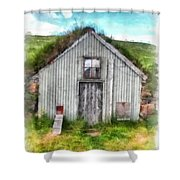 The Old Chicken Coop Iceland Turf Barn Shower Curtain