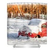 The Old Farm Truck In The Snow Shower Curtain