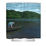 The Old Green Canoe Shower Curtain